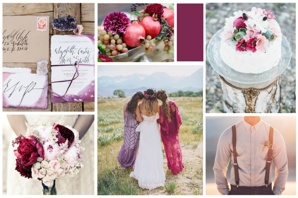 Berry Bohemian Mood Board | Paper and Pearl Weddings
